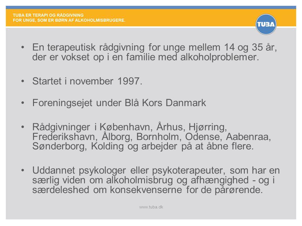 www.tuba.dk •En terapeutisk rådgivning for unge mellem 14 og 35 år, der er vokset op i en familie med alkoholproblemer. •Startet i november 1997. •For