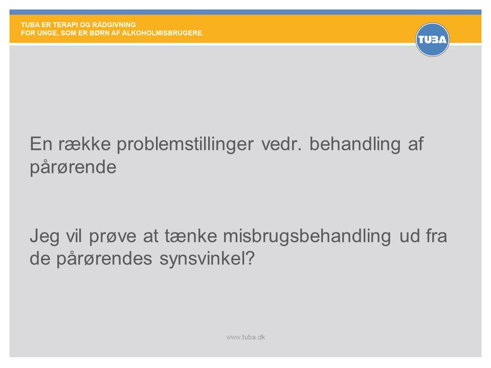 www.tuba.dk Problemstilling 1. Hvad er pårørende behandling? 3 muligheder