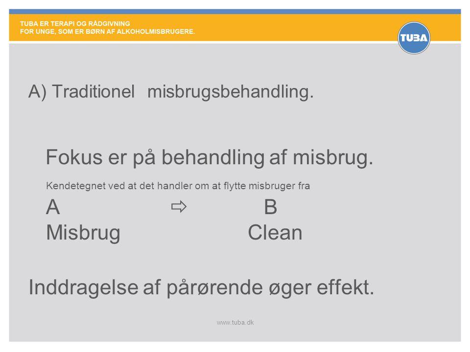 www.tuba.dk Fokus er på behandling af misbrug. Kendetegnet ved at det handler om at flytte misbruger fra A  B Misbrug Clean Inddragelse af pårørende