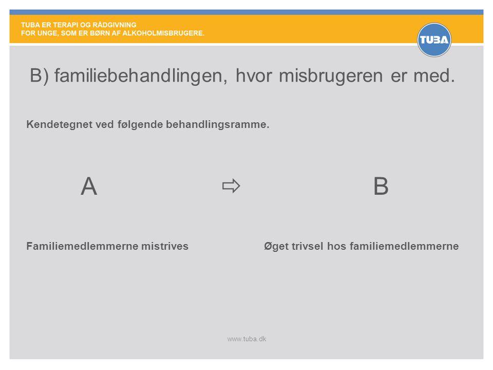 www.tuba.dk B) familiebehandlingen, hvor misbrugeren er med.