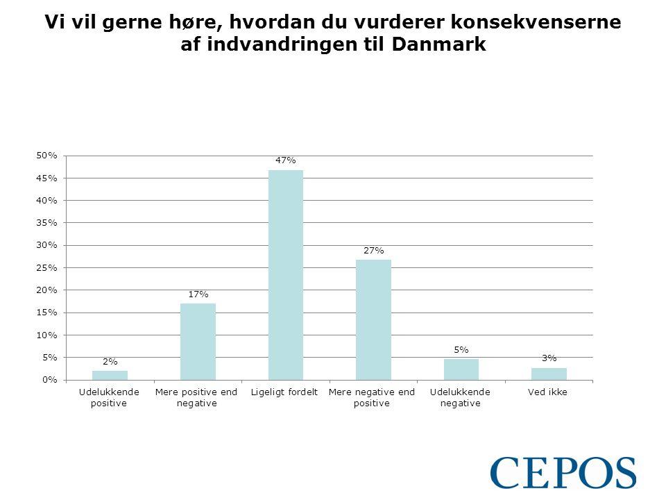 Vi vil gerne høre, hvordan du vurderer konsekvenserne af indvandringen til Danmark