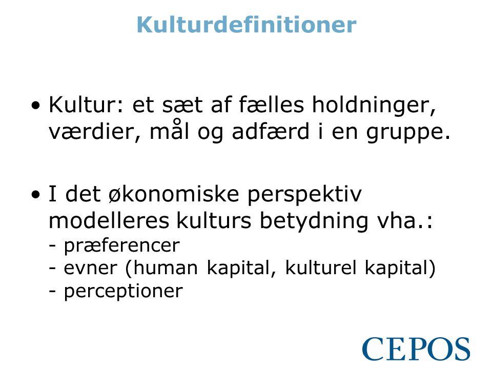 Kulturdefinitioner •Kultur: et sæt af fælles holdninger, værdier, mål og adfærd i en gruppe.
