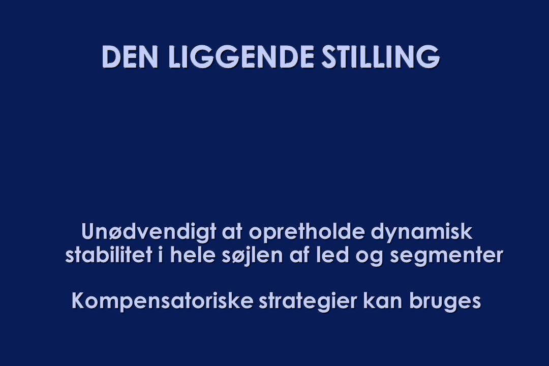 DEN LIGGENDE STILLING Unødvendigt at opretholde dynamisk stabilitet i hele søjlen af led og segmenter Kompensatoriske strategier kan bruges