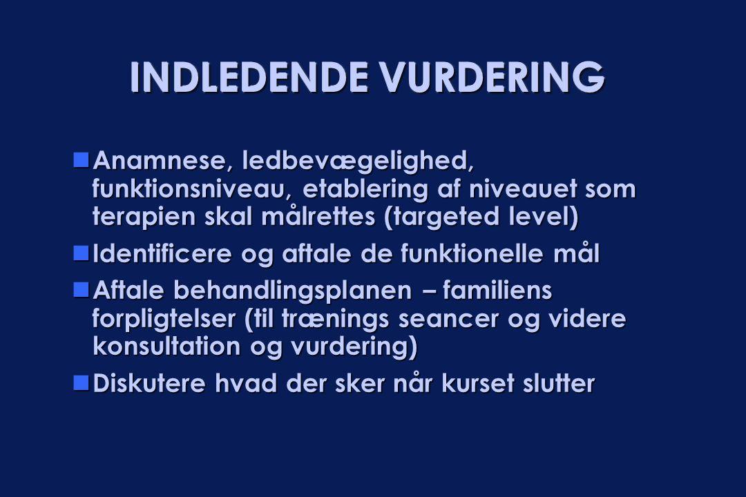 INDLEDENDE VURDERING  Anamnese, ledbevægelighed, funktionsniveau, etablering af niveauet som terapien skal målrettes (targeted level)  Identificere