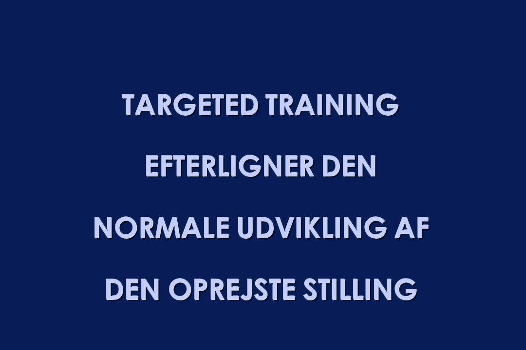 TARGETED TRAINING EFTERLIGNER DEN NORMALE UDVIKLING AF DEN OPREJSTE STILLING