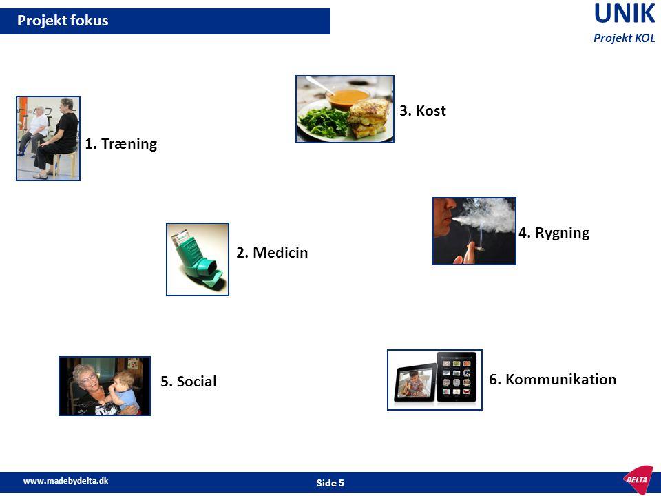 www.madebydelta.dk Side 5 UNIK Projekt KOL Projekt fokus 1. Træning 2. Medicin 3. Kost 4. Rygning 6. Kommunikation 5. Social