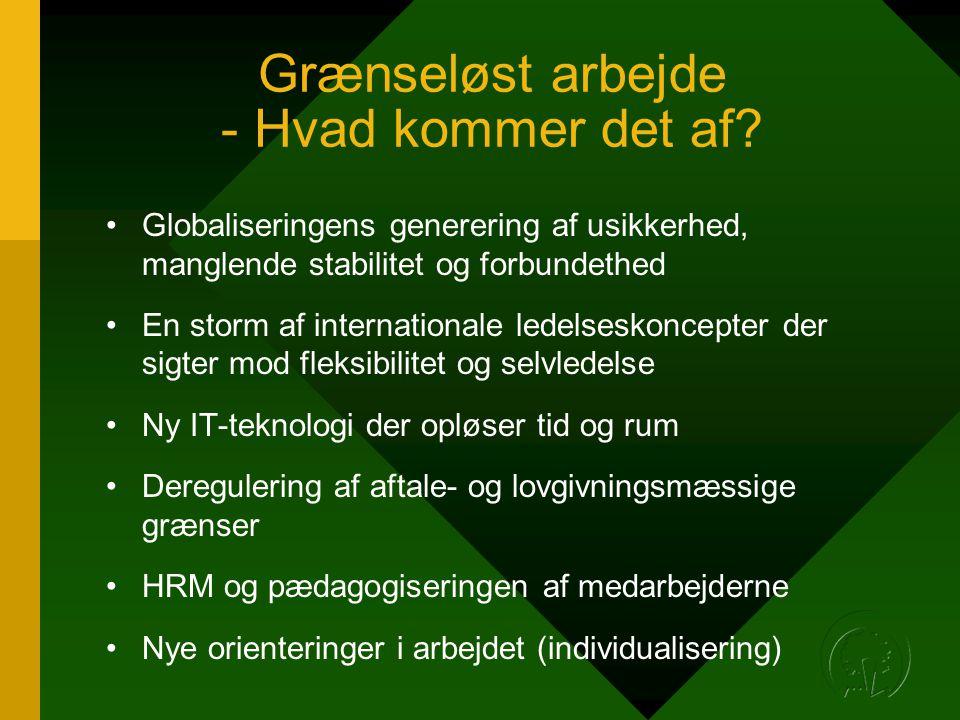 Grænseløst arbejde - Hvad kommer det af? •Globaliseringens generering af usikkerhed, manglende stabilitet og forbundethed •En storm af internationale