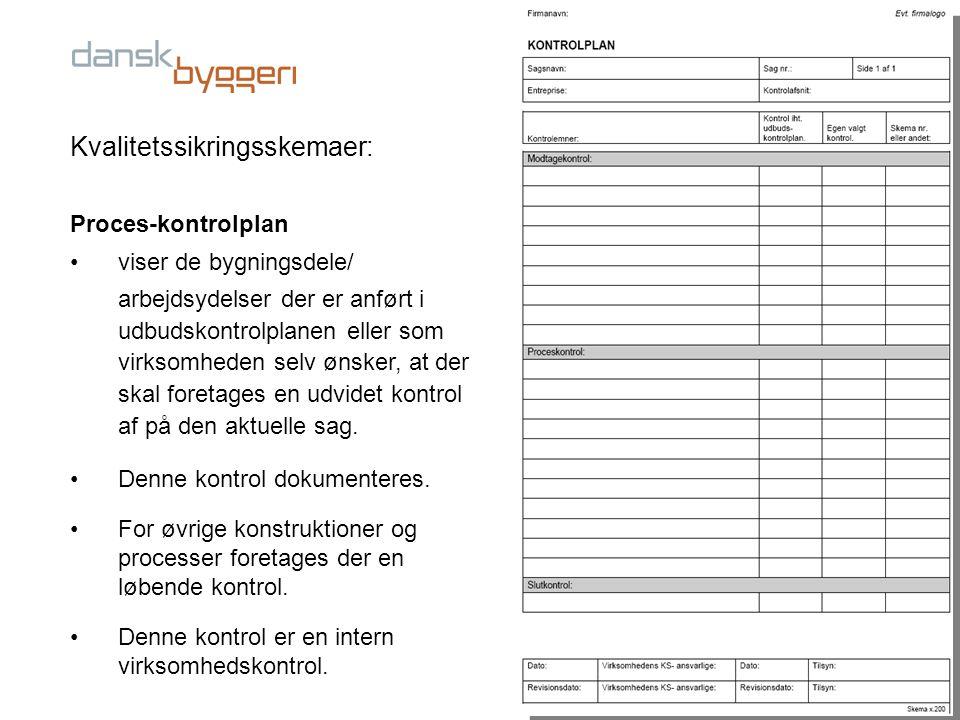 Kvalitetssikringsskemaer: Proces-kontrolplan •viser de bygningsdele/ arbejdsydelser der er anført i udbudskontrolplanen eller som virksomheden selv øn