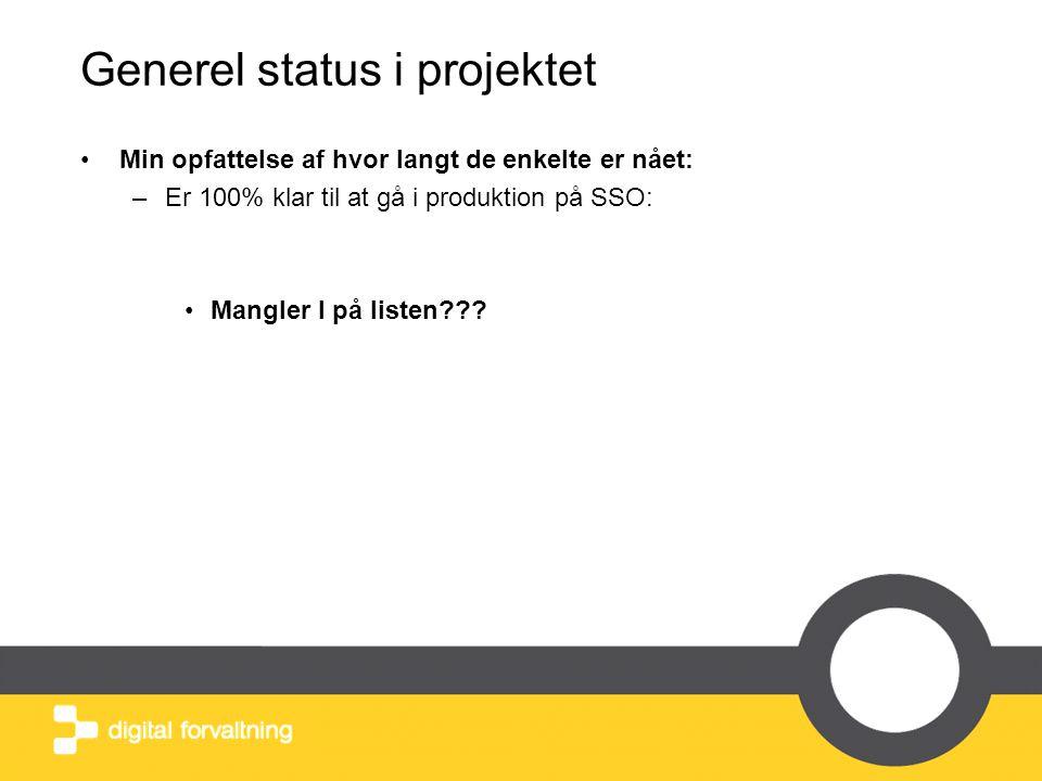 Generel status i projektet •Min opfattelse af hvor langt de enkelte er nået: –Er 100% klar til at gå i produktion på SSO: •Mangler I på listen???