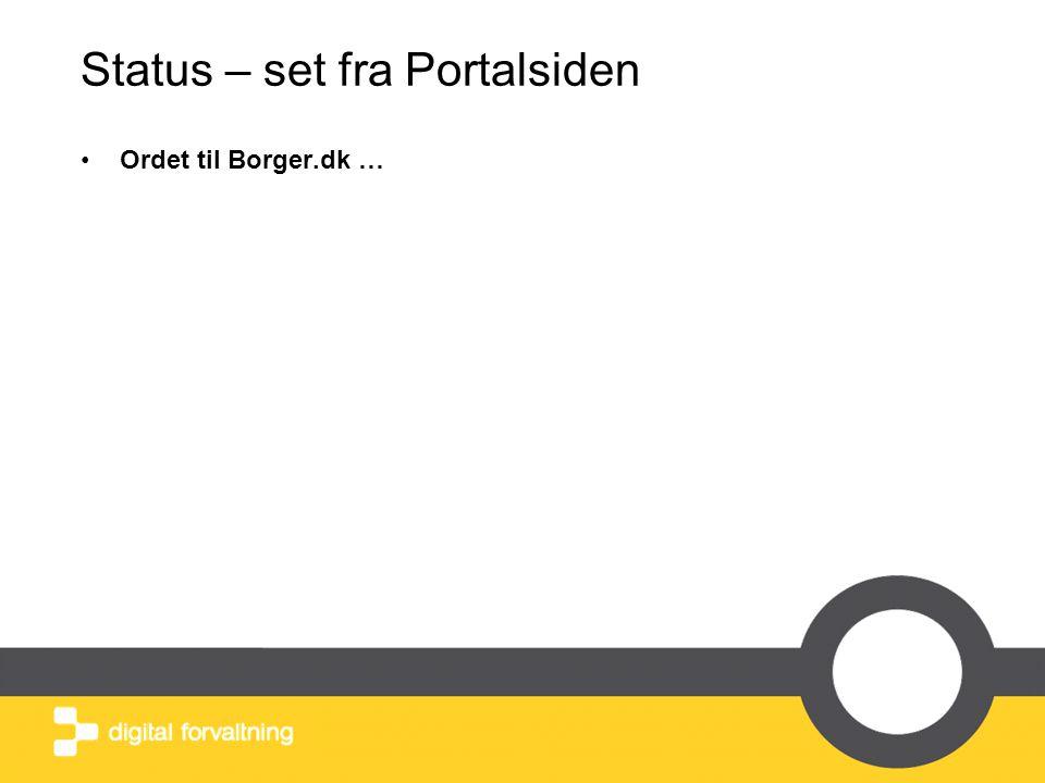 Status – set fra Portalsiden •Ordet til Borger.dk …