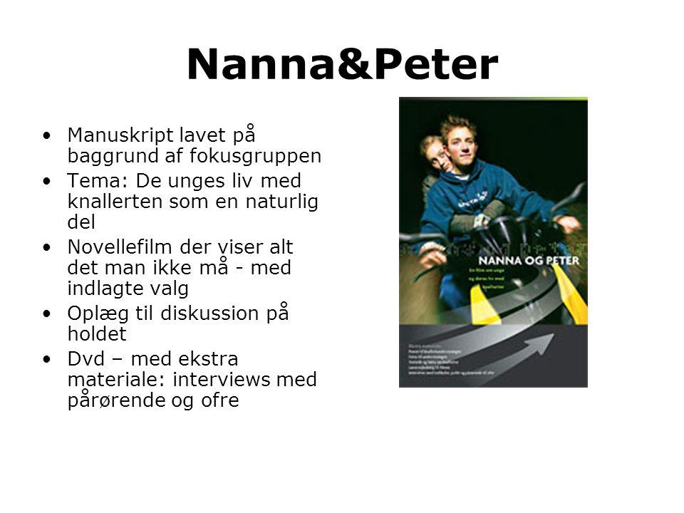 Nanna&Peter •Manuskript lavet på baggrund af fokusgruppen •Tema: De unges liv med knallerten som en naturlig del •Novellefilm der viser alt det man ik