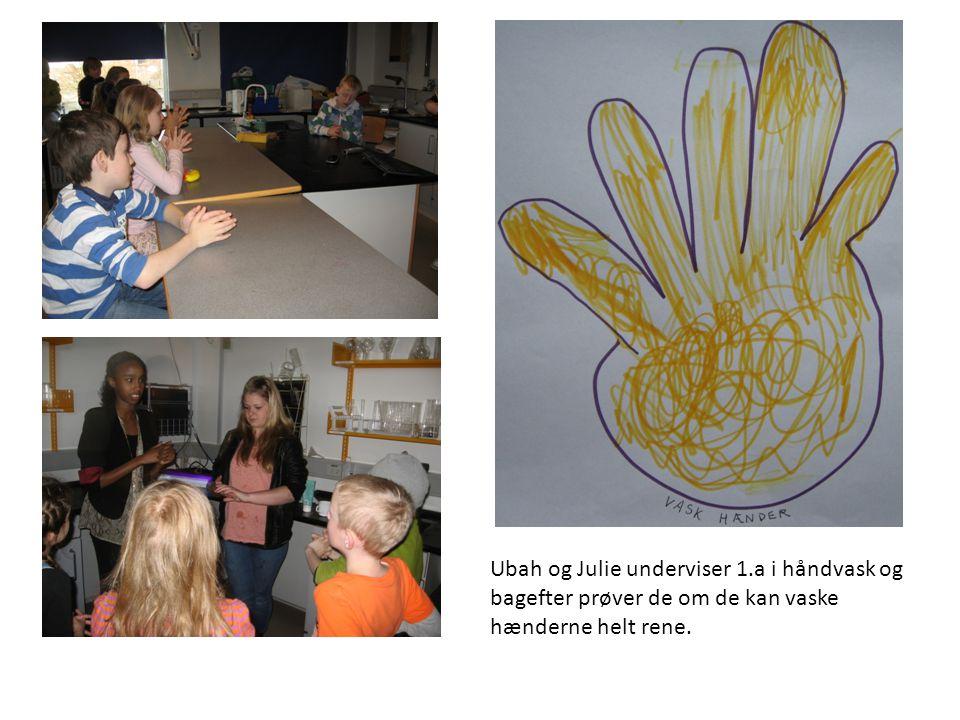 Ubah og Julie underviser 1.a i håndvask og bagefter prøver de om de kan vaske hænderne helt rene.