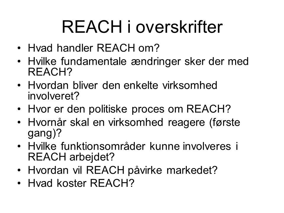 Ændringer med REACH Kommunikation om kemikalier EKSPONERING + FARLIGHED ANVENDELSE NU Efter REACH
