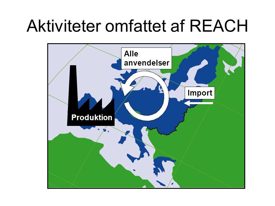 Import Aktiviteter omfattet af REACH Alle anvendelser Produktion