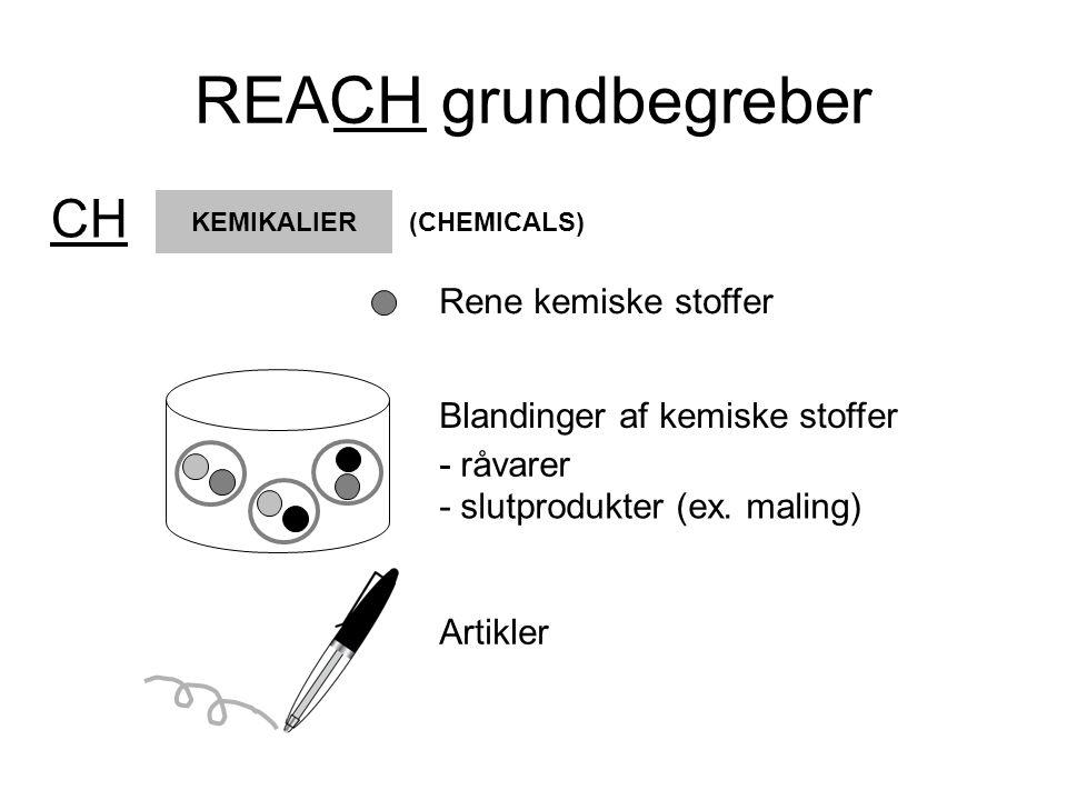 REACH grundbegreber Producenter og importører af kemiske stoffer skal dokumentere det enkelte stofs miljø- og sundhedsmæssige egenskaber og sætte det i forhold til stoffets anvendelser.