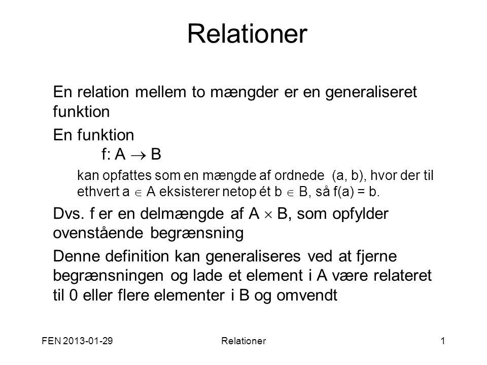 FEN 2013-01-29Relationer1 En relation mellem to mængder er en generaliseret funktion En funktion f: A  B kan opfattes som en mængde af ordnede (a, b)