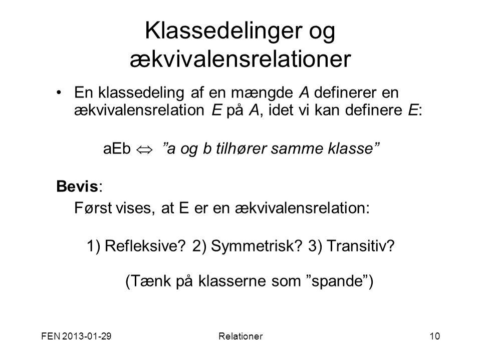 FEN 2013-01-29Relationer10 Klassedelinger og ækvivalensrelationer •En klassedeling af en mængde A definerer en ækvivalensrelation E på A, idet vi kan