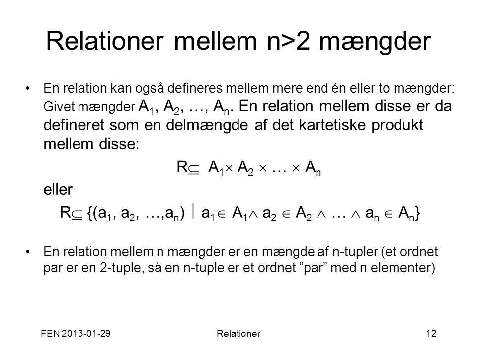 FEN 2013-01-29Relationer12 Relationer mellem n>2 mængder •En relation kan også defineres mellem mere end én eller to mængder: Givet mængder A 1, A 2,