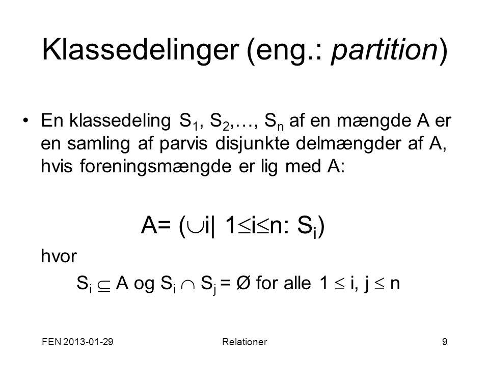 FEN 2013-01-29Relationer9 Klassedelinger (eng.: partition) •En klassedeling S 1, S 2,…, S n af en mængde A er en samling af parvis disjunkte delmængde