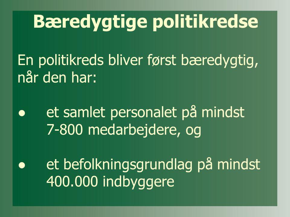Bæredygtige politikredse En politikreds bliver først bæredygtig, når den har: ● et samlet personalet på mindst 7-800 medarbejdere, og ●et befolkningsgrundlag på mindst 400.000 indbyggere