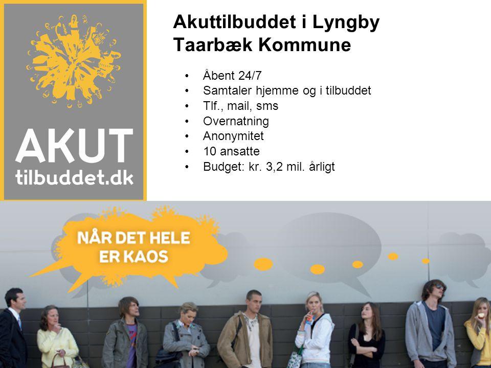 •Åbent 24/7 •Samtaler hjemme og i tilbuddet •Tlf., mail, sms •Overnatning •Anonymitet •10 ansatte •Budget: kr. 3,2 mil. årligt Akuttilbuddet i Lyngby