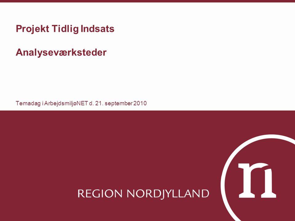Projekt Tidlig Indsats Analyseværksteder Temadag i ArbejdsmiljøNET d. 21. september 2010