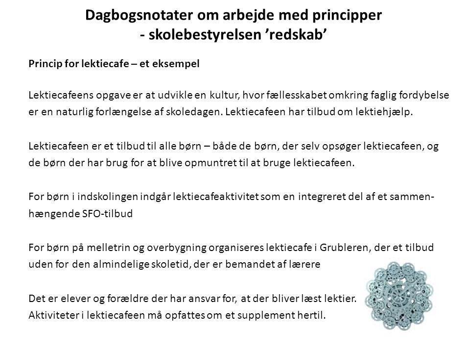 Dagbogsnotater om arbejde med principper - skolebestyrelsen 'redskab' Princip for lektiecafe – et eksempel Lektiecafeens opgave er at udvikle en kultu