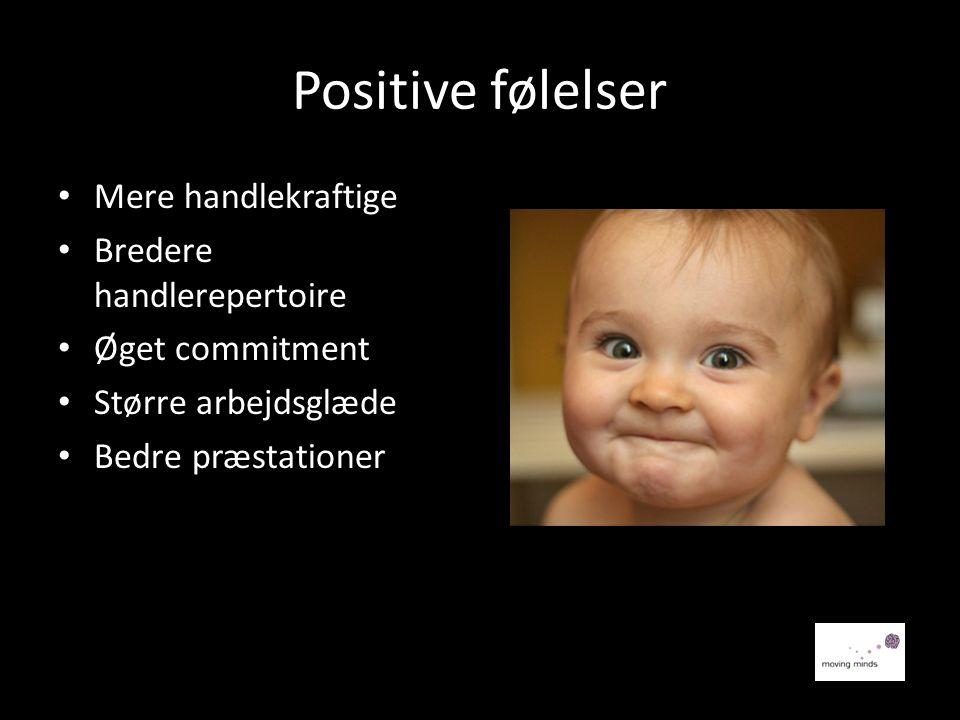 Positive følelser • Mere handlekraftige • Bredere handlerepertoire • Øget commitment • Større arbejdsglæde • Bedre præstationerr