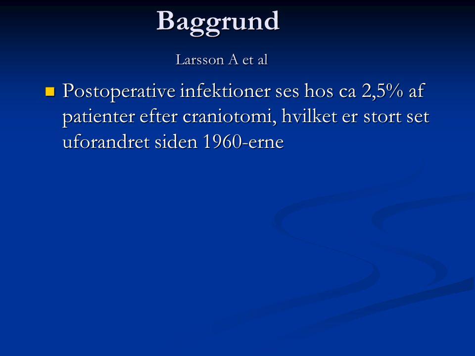 Baggrund Larsson A et al  Postoperative infektioner ses hos ca 2,5% af patienter efter craniotomi, hvilket er stort set uforandret siden 1960-erne