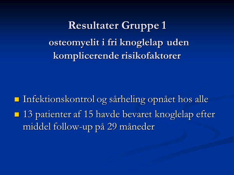 Resultater Gruppe 1 osteomyelit i fri knoglelap uden komplicerende risikofaktorer  Infektionskontrol og sårheling opnået hos alle  13 patienter af 15 havde bevaret knoglelap efter middel follow-up på 29 måneder