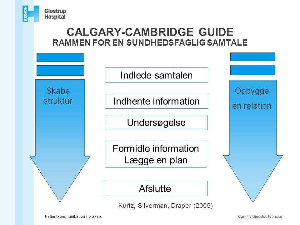CALGARY-CAMBRIDGE GUIDE RAMMEN FOR EN SUNDHEDSFAGLIG SAMTALE Indlede samtalen Indhente information Undersøgelse Formidle information Lægge en plan Afs