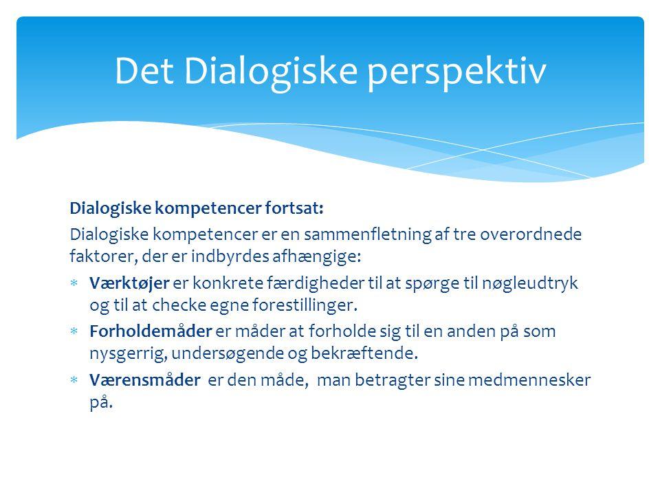 Det Dialogiske perspektiv Dialogiske kompetencer fortsat: Dialogiske kompetencer er en sammenfletning af tre overordnede faktorer, der er indbyrdes afhængige:  Værktøjer er konkrete færdigheder til at spørge til nøgleudtryk og til at checke egne forestillinger.