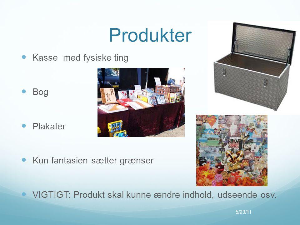 Produkter  Kasse med fysiske ting  Bog  Plakater  Kun fantasien sætter grænser  VIGTIGT: Produkt skal kunne ændre indhold, udseende osv. 5/23/11