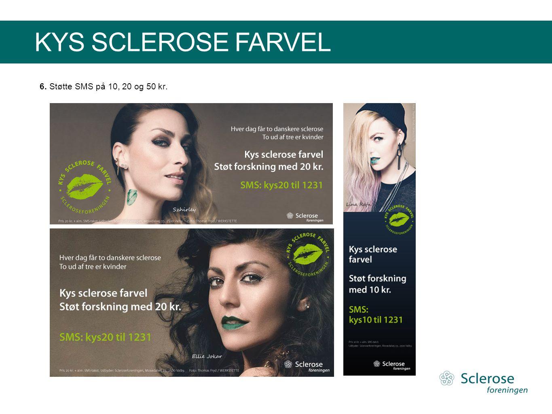 KYS SCLEROSE FARVEL 6. Støtte SMS på 10, 20 og 50 kr.