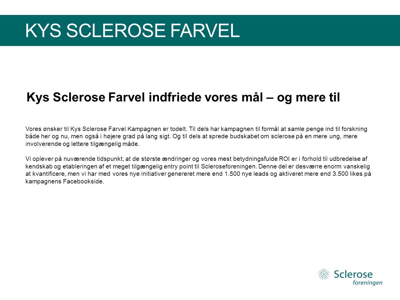 KYS SCLEROSE FARVEL Vores ønsker til Kys Sclerose Farvel Kampagnen er todelt. Til dels har kampagnen til formål at samle penge ind til forskning både