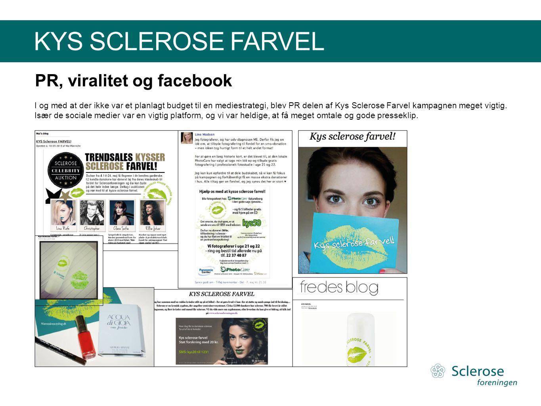 KYS SCLEROSE FARVEL PR, viralitet og facebook I og med at der ikke var et planlagt budget til en mediestrategi, blev PR delen af Kys Sclerose Farvel k