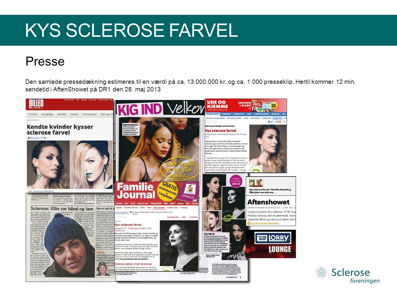 KYS SCLEROSE FARVEL Presse Den samlede pressedækning estimeres til en værdi på ca. 13.000.000 kr. og ca. 1.000 presseklip. Hertil kommer 12 min. sende