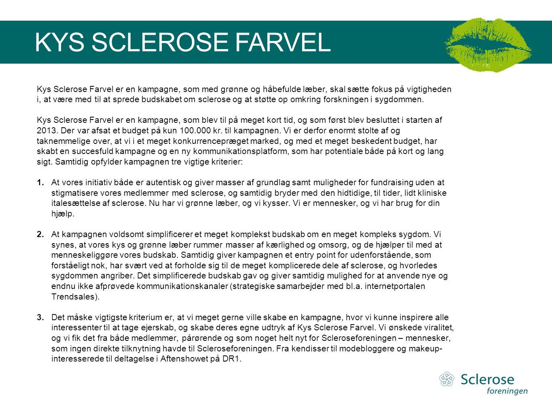 KYS SCLEROSE FARVEL Kys Sclerose Farvel er en kampagne, som med grønne og håbefulde læber, skal sætte fokus på vigtigheden i, at være med til at spred