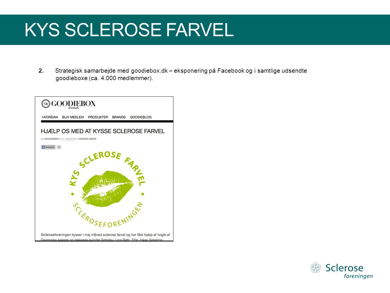 KYS SCLEROSE FARVEL 2.Strategisk samarbejde med goodiebox.dk – eksponering på Facebook og i samtlige udsendte goodieboxe (ca. 4.000 medlemmer).