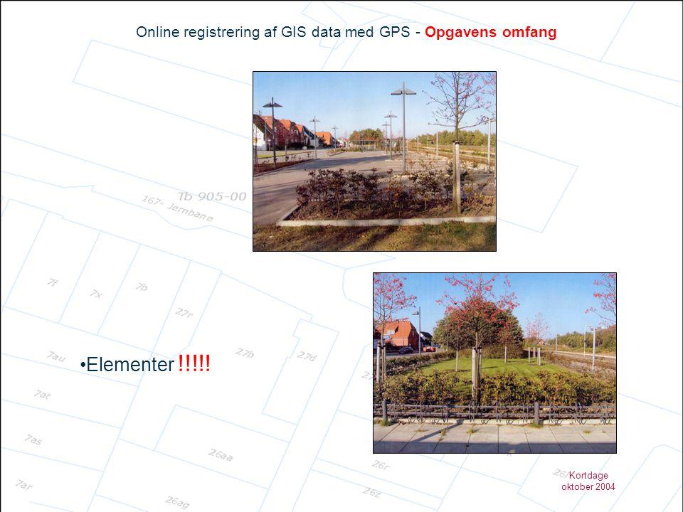 Kortdage oktober 2004 Online registrering af GIS data med GPS - Opgavens omfang •Elementer !!!!!