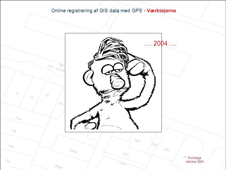 Kortdage oktober 2004 Online registrering af GIS data med GPS - Opgaven Drift & Vedligehold Registrering af: Hvad.