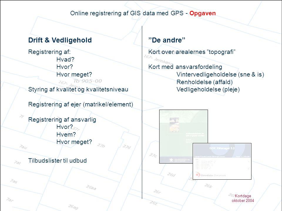 Kortdage oktober 2004 Online registrering af GIS data med GPS – Resultatet Element & Ejerskab