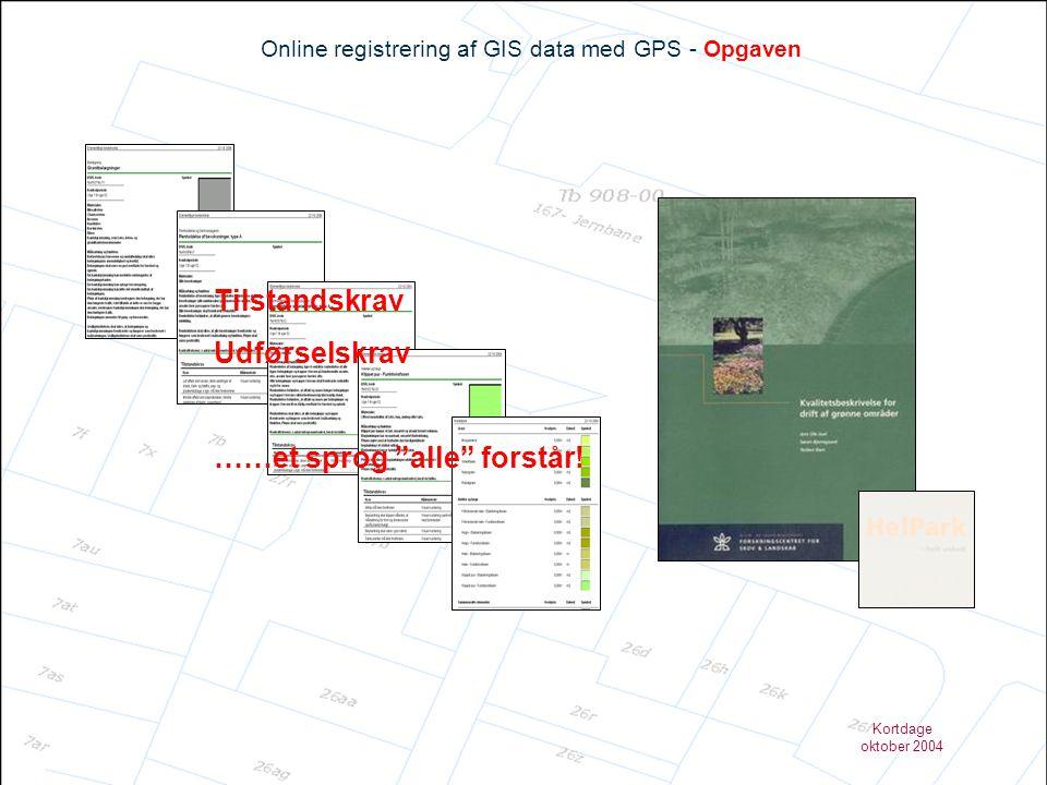 Kortdage oktober 2004 Online registrering af GIS data med GPS – Fremtidsperspektiver GIS kort grundlaget Data GPS