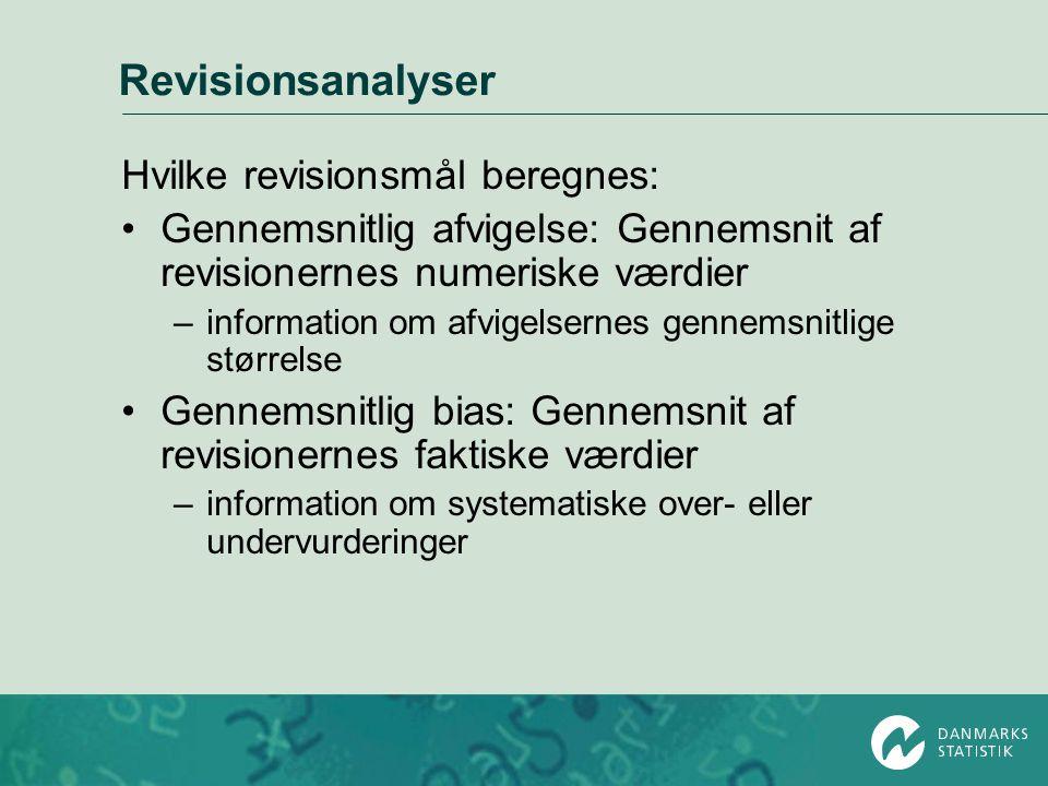 Revisionsanalyser Hvilke revisionsmål beregnes: •Gennemsnitlig afvigelse: Gennemsnit af revisionernes numeriske værdier –information om afvigelsernes
