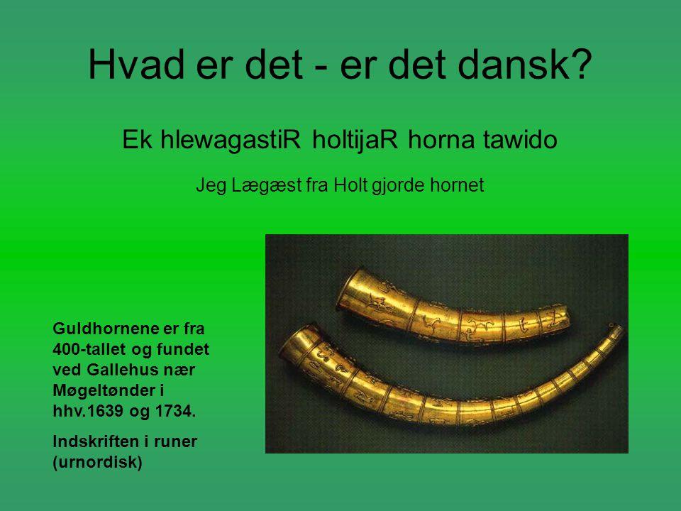 Hvad er det - er det dansk? Ek hlewagastiR holtijaR horna tawido Jeg Lægæst fra Holt gjorde hornet Guldhornene er fra 400-tallet og fundet ved Gallehu