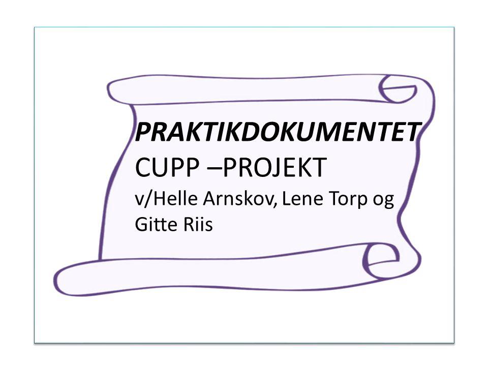 PRAKTIKDOKUMENTET CUPP –PROJEKT v/Helle Arnskov, Lene Torp og Gitte Riis