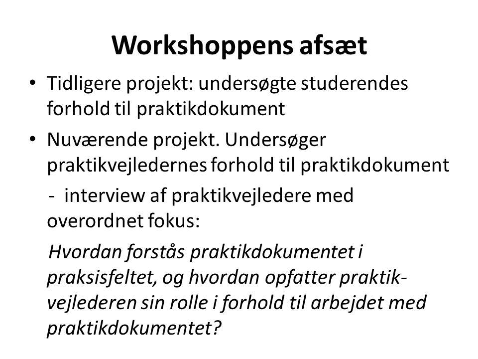 Workshoppens afsæt • Tidligere projekt: undersøgte studerendes forhold til praktikdokument • Nuværende projekt. Undersøger praktikvejledernes forhold