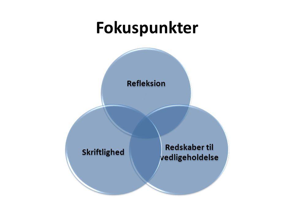 Fokuspunkter Refleksion Redskaber til vedligeholdelse Skriftlighed