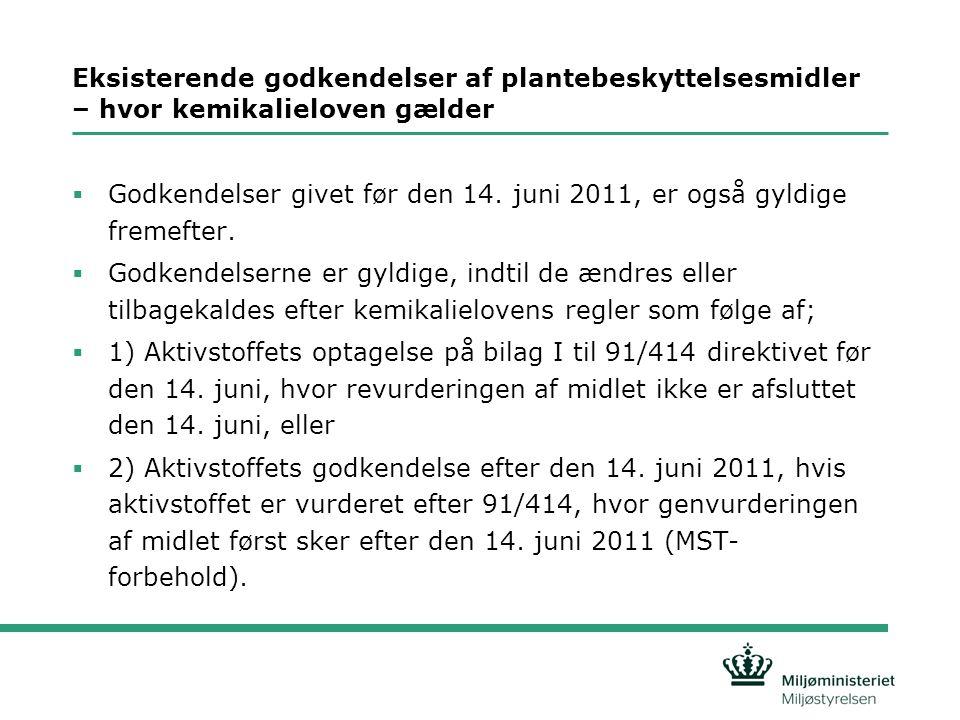Godkendelse af mindre anvendelser - artikel 51 (tidligere off-label godkendelser)  Der kan stadig gives godkendelse til mindre anvendelser, dvs.: •En mindre afgrøde •En mindre anvendelse i en stor afgrøde, f.eks.