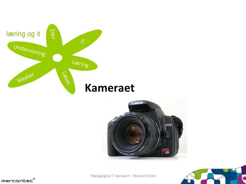 Pædagogisk IT-kørekort - Mentorforløb 2 Typiske kamerafunktioner Udløser Tænd/sluk Automatik- og programvalg Zoom Sletning af billederVisning af billeder Skærm Objektiv Flash Forfra Bagfra Oppefra